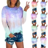 Women Tie-Dye Long Sleeve Crew-Neck T-Shirt Blouse Casual Tee Top Plus Size AU