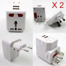 2Pc White Universal World Travel Adapter Plug AC/USB Power Protector UK/EU/US/AU