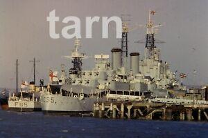 35mm slide Shipping scene HMS Belfast 1960s r144