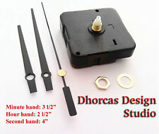 "(#08) Quartz Clock Movement kit, 1/4"" threaded quiet motor and black 3.5"" hand"