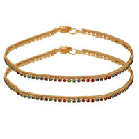 Bracelet Pair 10.0/'/' Charming Indian Gold Plated Jewelry Anklets Ankle Pajeb