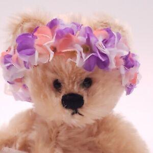 """Vtg Annette Funicello 8"""" Bear Cream Mohair Blue Flowers Tutu Ballerina Spring"""