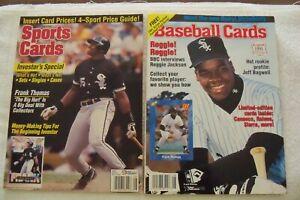 Frank Thomas on Cover 1991 Baseball Cards Magazine & 1993 Sports Cards Magazine