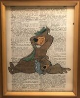 Vintage 1950s Dictionary Yogi Bear Print 1950s Cartoon Wall Art Decor