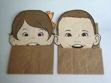 "Vintage 1960's Brown Paper Bag Hand Puppets Boy & Girl 14"" X 7"" Toy Game"
