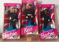 Military Lot of 3 MARINE CORPS BARBIE AND KEN DOLLS 1991 Vintage Mattel