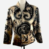 Joseph Ribkoff Jacket Size 12 Floral Printed Metallic Womens Collared