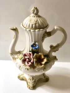 Vintage Original Capodimonte Tea ,Coffee Pot With Rose Petals Embossed Italy.