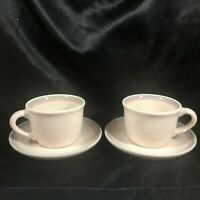 Pair of Pfaltzgraff Aura Pink Coffee Cups and Saucers