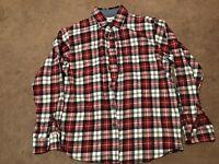 Wrangler Men's Western Flannel Shirt Medium Red Plaid Buttons