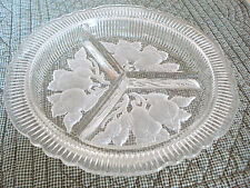 Vintage Heavy Crystal Depression Glass Frosted Fruits 3-Part Relish Candy Dish