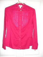 Talbots blouse size M Medium Petite LS NWT button raspberry tuxedo