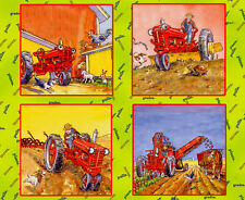 Tractor Mac Farm Farmer Farming Scene Themed 4 Scene Cotton Fabric PANEL