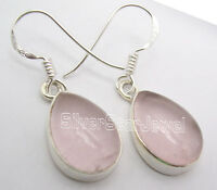 """925 Sterling Silver CABOCHON PINK ROSE QUARTZ Gem TRADITIONAL Earrings 1.3"""""""
