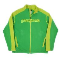 Mens Patagonia Organic Cotton Track Top Jacket Zip Spell Out Green Size L
