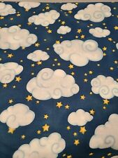 """New listing """"Clouds and Stars Cloth 2 yards Baby Colors Cotton Fabric Great quilt backing"""