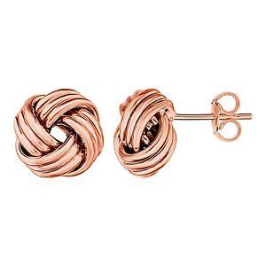 14k Rose Gold Classic Elegant 0.5in Love Knot Post Earrings