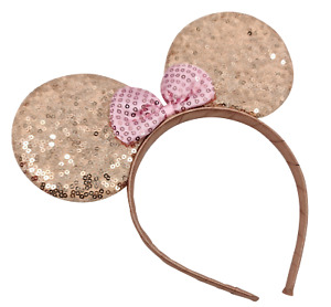 ROSE GOLD Minnie mouse ears hairband fancy dress party hen night glitter colour