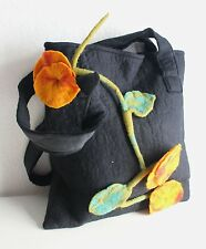 Black Felt Wool Boho Tote Bag with Red Flower FBB18