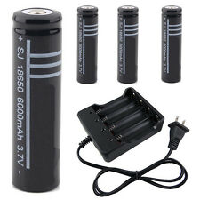 4PCS 18650 Li-ion 3.7V Rechargeable Battery and Battery Charger zu