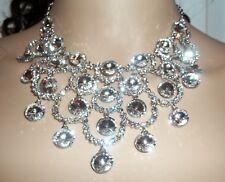 Silver Plated White Crystal Circular Design Bridal Set w/ Tiara.