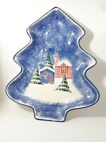 "Christmas, Serving Dish, Made in Italy Winter Cabins & Pines 13"" Tall Holiday"
