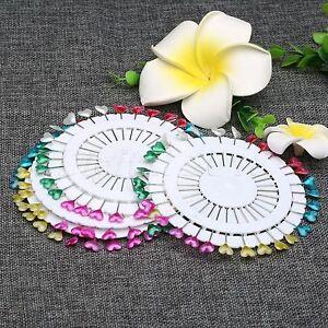 2 Wheel 60PC Heart Pearl Head Straight Pin Wedding Dress Decor Sewing Craft Tool
