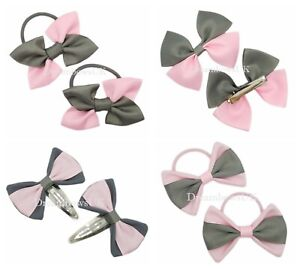 School grey and baby pink ribbon/fabric hair accessories/bows, School hair bows