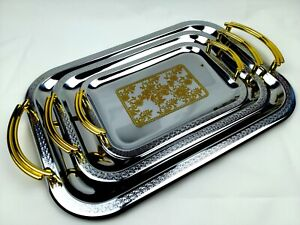 Set of 3 Serving Trays Steel Classic Gold Plated Design Lightweight Carry Handle