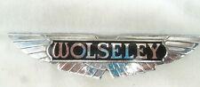 ENAMEL & CHROME REAR BOOT BADGE EMBLEM  for VINTAGE WOLSELEY CAR - 15.2 cm wide