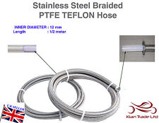 12MM x 1/2 MT STAINLESS STEEL BRAIDED PTFE TEFLON FUEL HOSE LINE OIL PETROL HOSE