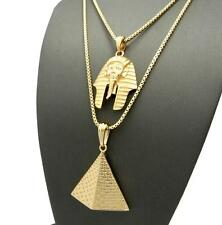 AFRICAN EGYPTIAN PYRAMID PHAROAH KING TUT PENDANT CHAIN NECKLACE 14K GOLD GP