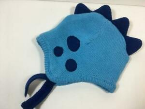 NWOTBaby Boy's Gymboree Blue Dot Sweater Knit DINOSAUR Hat, Sz 0-3M