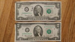1976 Circulated Two Dollar Bill Crisp $2 Federal Reserve Note Lot of Two Free Sh