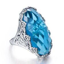 Huge 7.2ct Sky Blue Topaz Women Men 925 Silver Vintage Wedding Ring Size 6-10