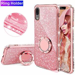 For Huawei P40 P30 Mate 20 Pro Lite Bling Diamond Ring Holder Soft Cover Case