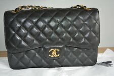 Chanel Black Caviar Classic Jumbo Double Flap Bag with Gold Hardware