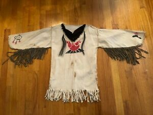 Mountain Man Shirt, Reenactment, Indian, Colonial Youth Small White Hand Made