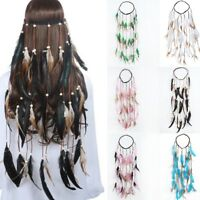 Feather Rope Crown Boho Elastic Gypsy Festival Head Band Indian Hair Accessories