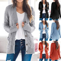 Womens Twist Knitted Buttons Casual Cardigan Pocket Sweater Jacket Outwear Solid