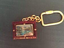 Vintage Collectible Canadian Rockies Swivel Keychain Gold Tone Enamel Canada