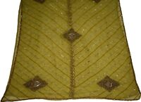 Indian Vintage Dupatta Green Floral Glass Beads & Sequins Work Long Stole Hijab