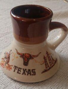 Vintage Texas Travel Mug No Slip Coffee Tea Mug Cup Steer Cowboy Gas Well Retro