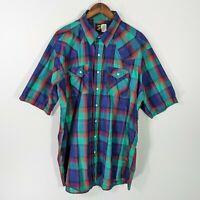Saddle King Western Mens 2XLT Green/Blue Plaid Short Sleeve Pearl Snap Shirt XXL