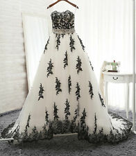 Plus Black+White Wedding Dress Lace Sleeveless Bridal Gown Custom Size 4-28