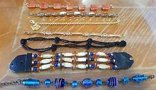 Lot 7 bracelets fantaisie vintage pierres, cuir, métal doré V487