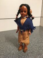 Vintage Ethnic Doll Nice Indian Lady Girl Hard Plastic Dressed  With Baby /Blue