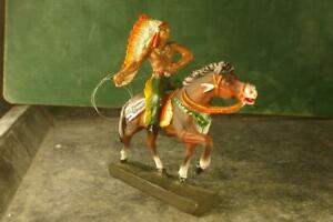 COMPOSITION LEYLA Wild West WW Mounted Indian With Lasso For ~7cm E