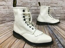 Dr. Martens Bonnie 8 Eye White Leather Boots Size 6 US