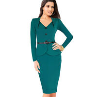 Women Peplum Cocktail Party Evening Wear to Work Bodycon Pencil Midi Dress EB15